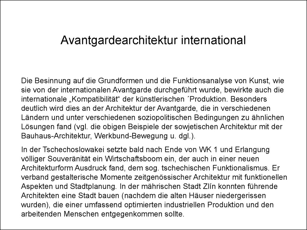 Avantgardearchitektur international