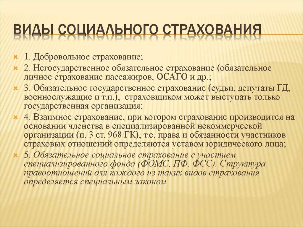 Реферат Социальное страхование ru Банк рефератов  Виды социального страхования реферат