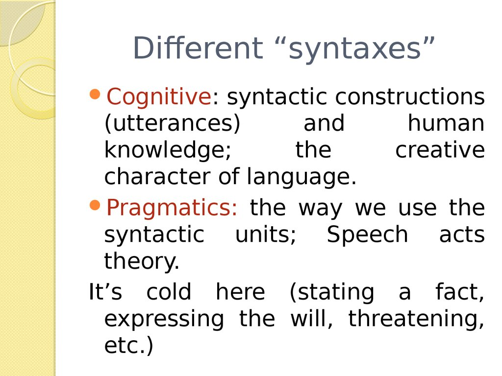 basic syntactic notions Features: perspectives on a key notion in linguistics oxford: oxford university press this chapter discusses basic issues, attempting to unpick some of the assumptions commonly made about features within a given component, for example, semantic, syntactic, morphological and phonological features there are also.