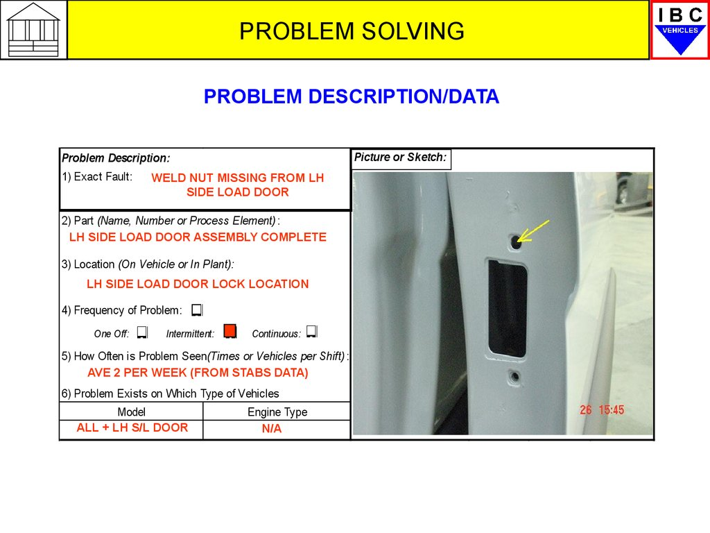 gm gms overview problem solving презентация онлайн problem description 1 exact fault sequence picture or sketch weld nut missing from lh side load door 2 part number or process element