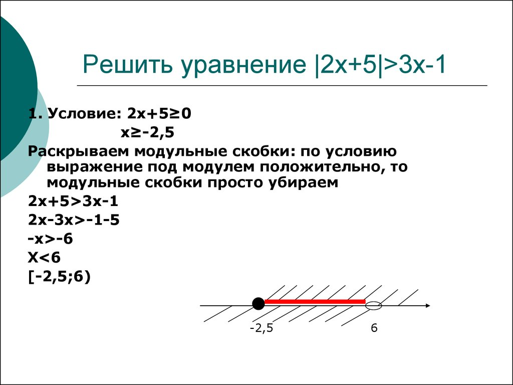 решение уравнение содержащие переменную под знаком модуля