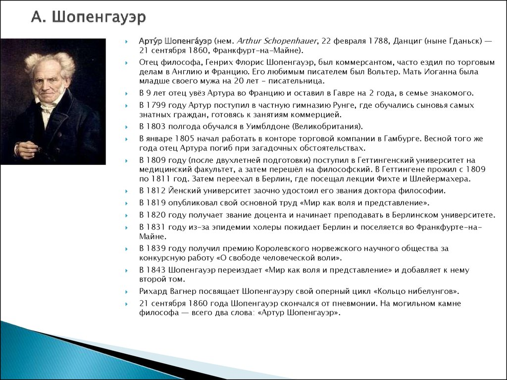 Философия А Шопенгауэр Презентация