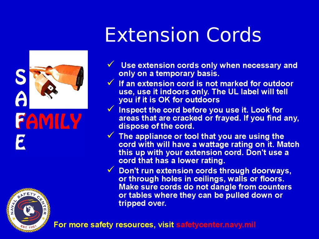 Power Cord Safety : Extension cord safety презентация онлайн