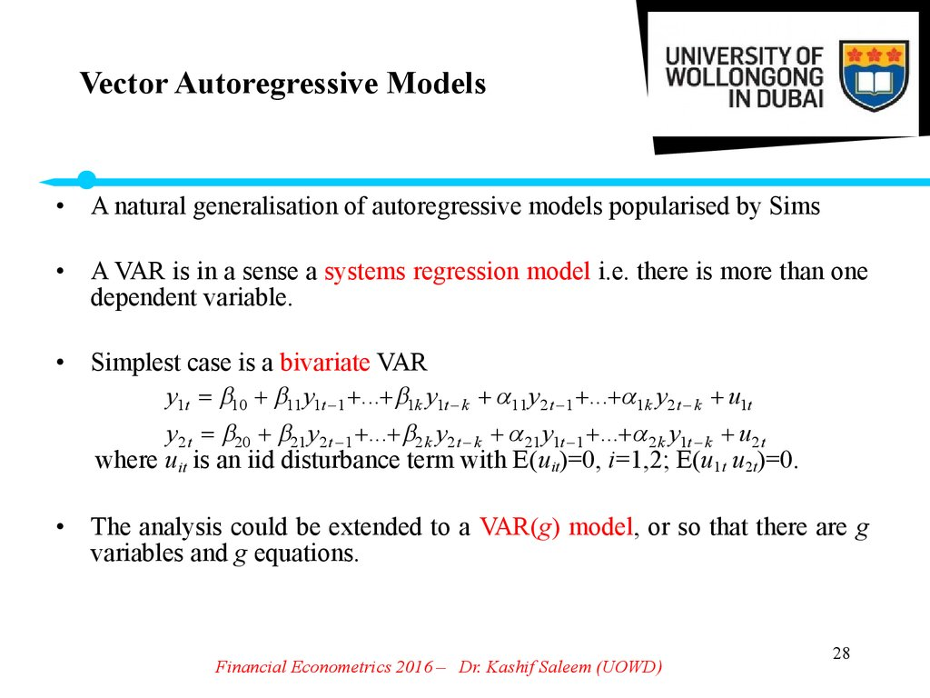vector autoregressions Vector autoregressions (vars) were introduced into empirical economics by c sims (1980), who demonstrated that vars provide a flexible and tractable.