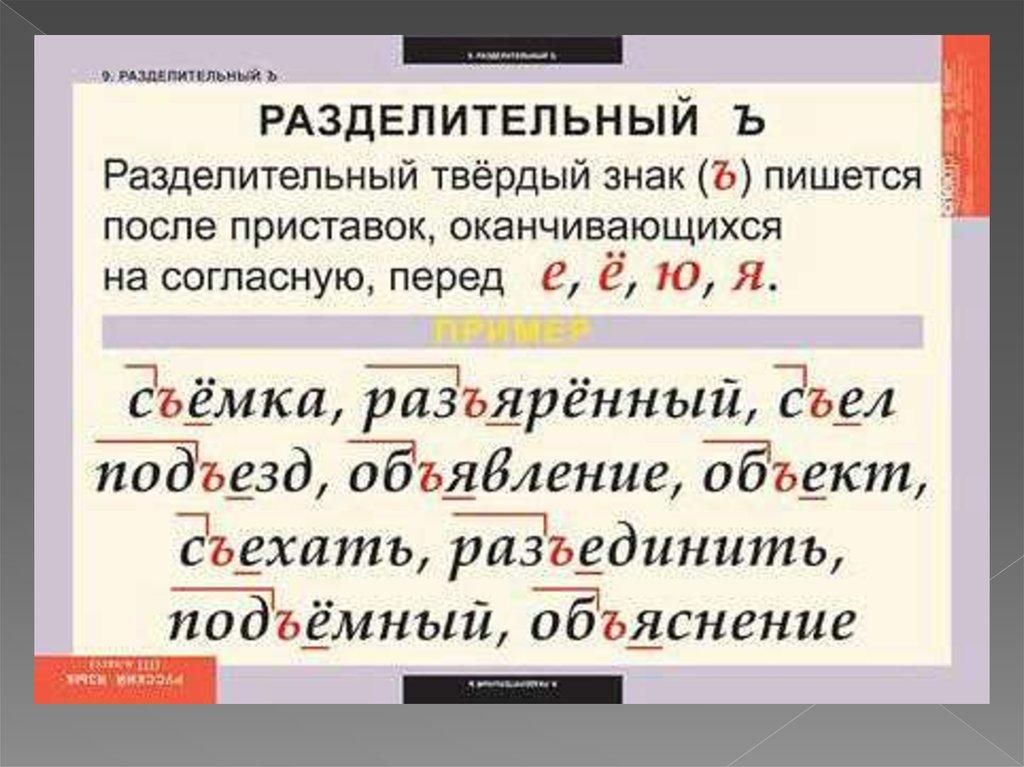 написание слов с разделительным твердым знаком