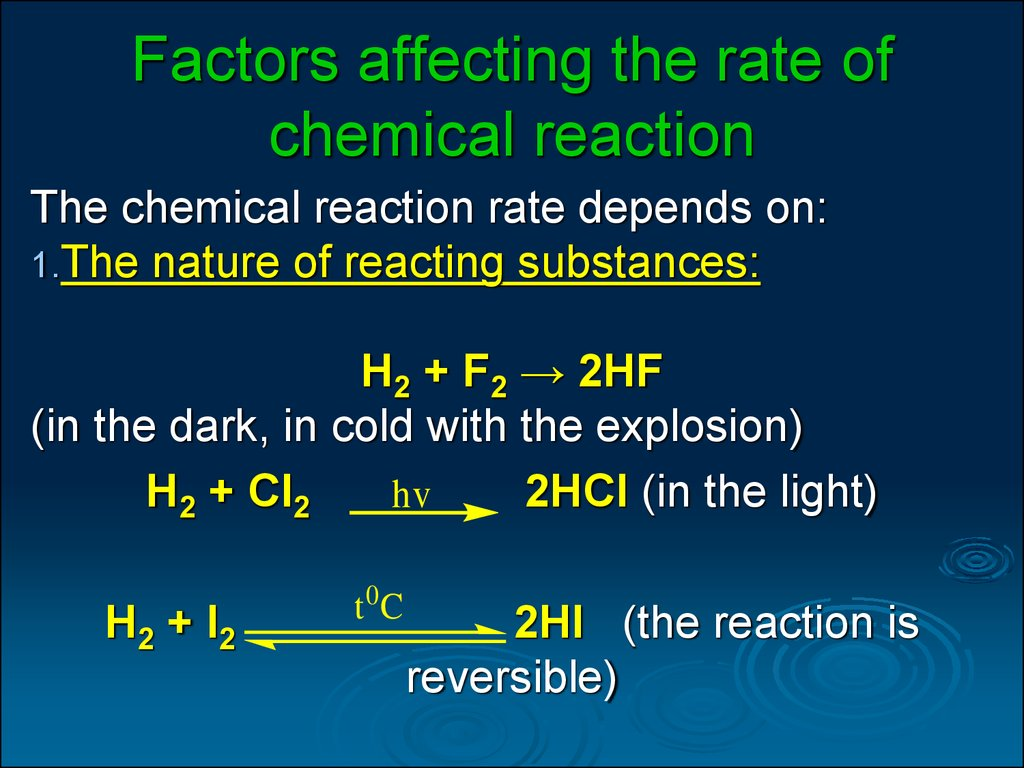 chemistry rate of reaction Ap chemistry chapter review chapter 11: rate of reaction you should understand the definition of reaction rate, as well as how rates might be measured in a laboratory.