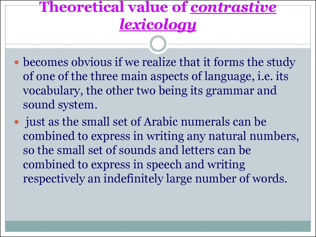 Theoretical value of contrastive lexicology