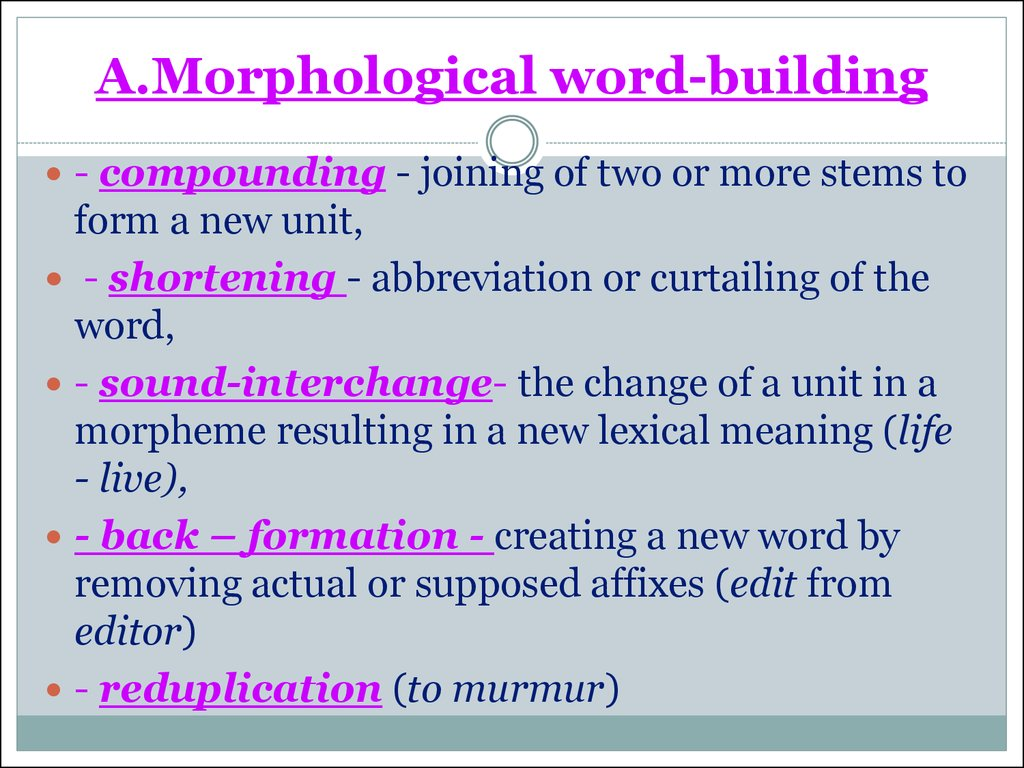 A.Morphological word-building