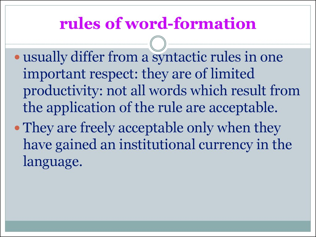 rules of word-formation