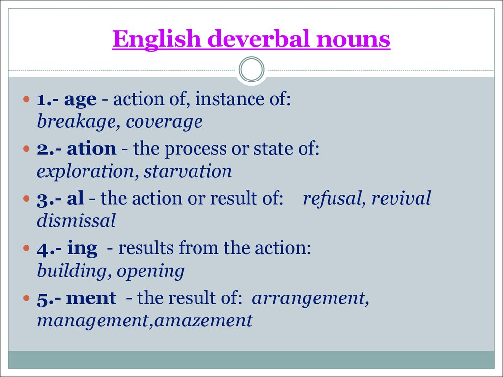 English deverbal nouns