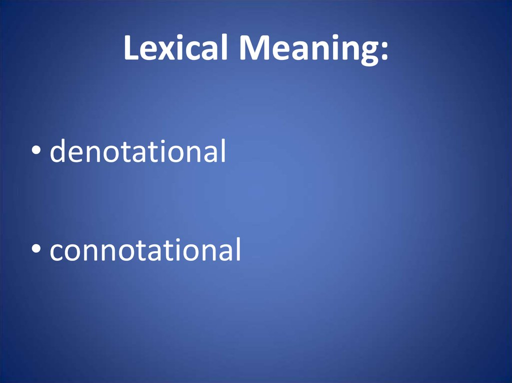 Lexical Meaning: