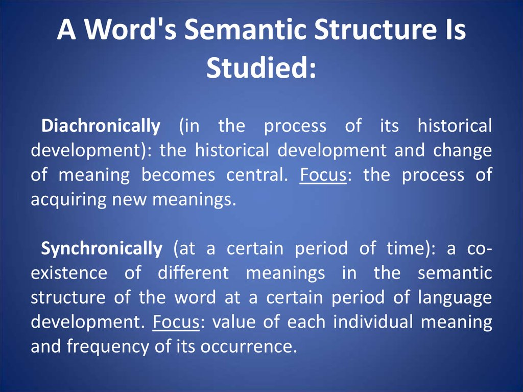 A Word's Semantic Structure Is Studied:
