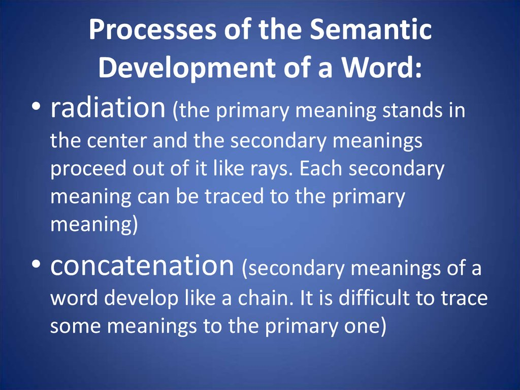 Processes of the Semantic Development of a Word: