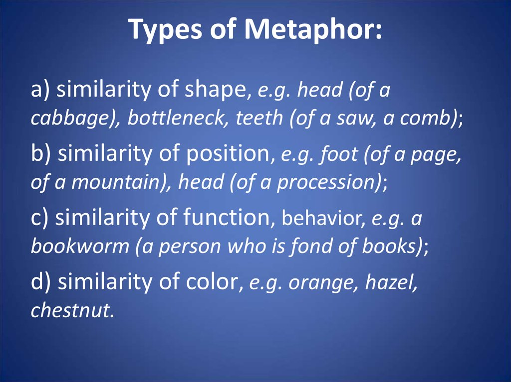 Types of Metaphor: