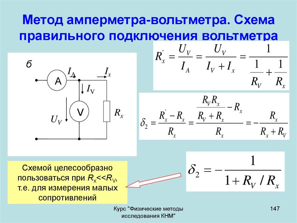 Какие существуют схемы включения амперметра и вольтметра