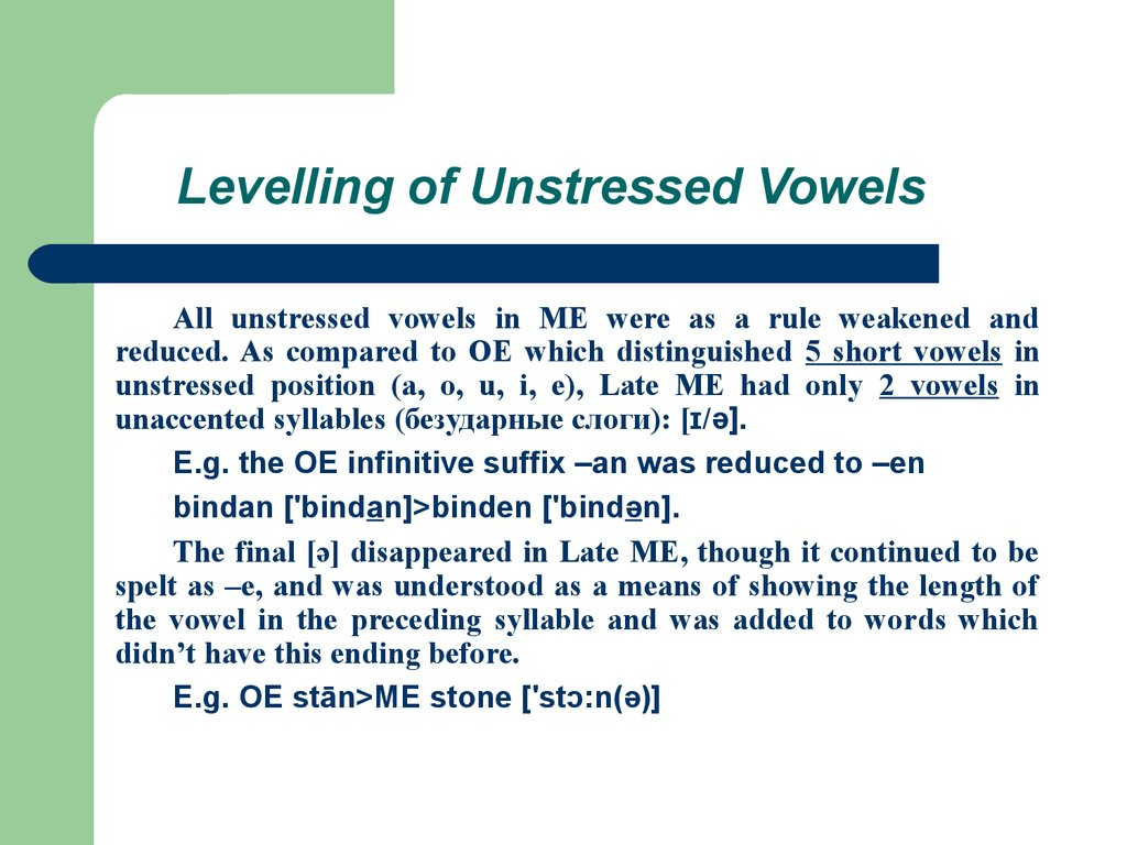 Levelling of Unstressed Vowels