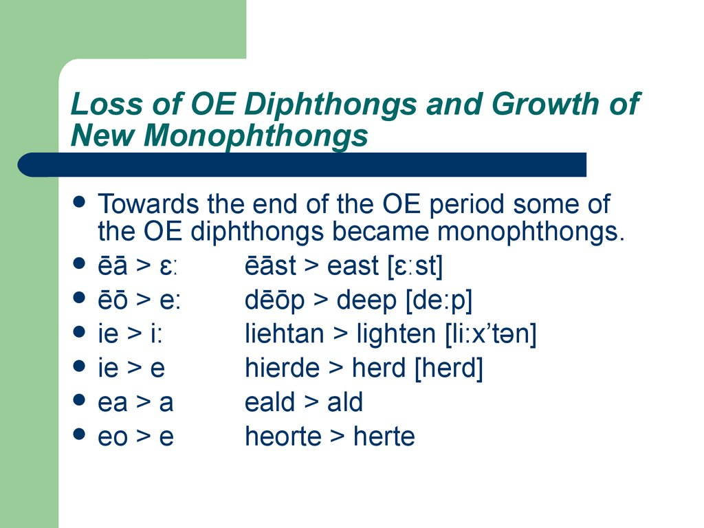 Loss of OE Diphthongs and Growth of New Monophthongs