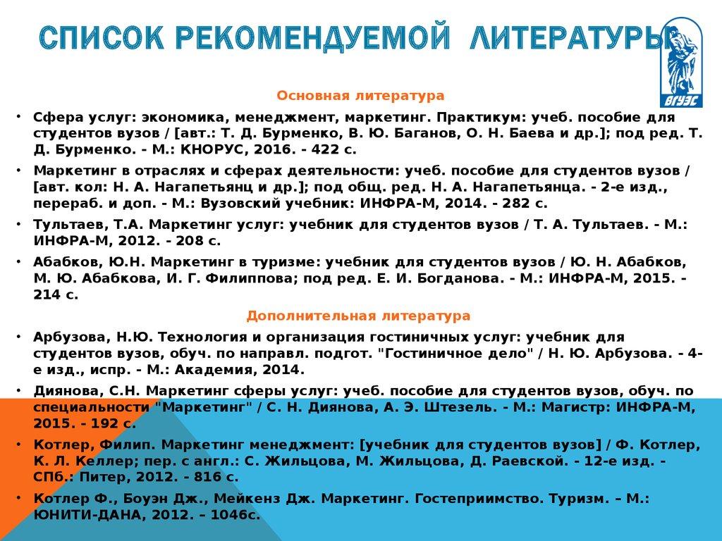 Список литературы по менеджменту 2015 2016