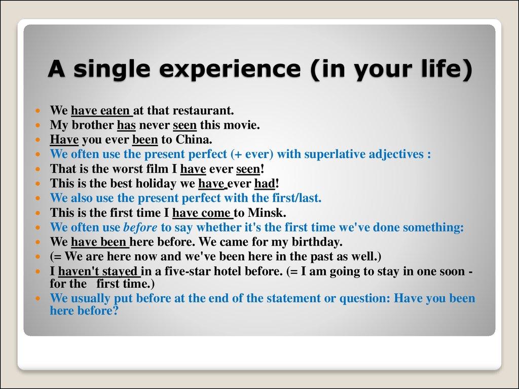 Perfect single de erfahrung