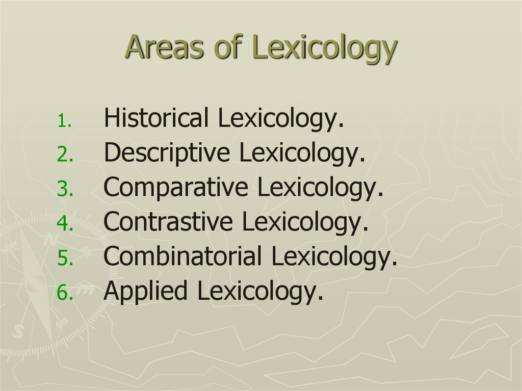 Areas of Lexicology