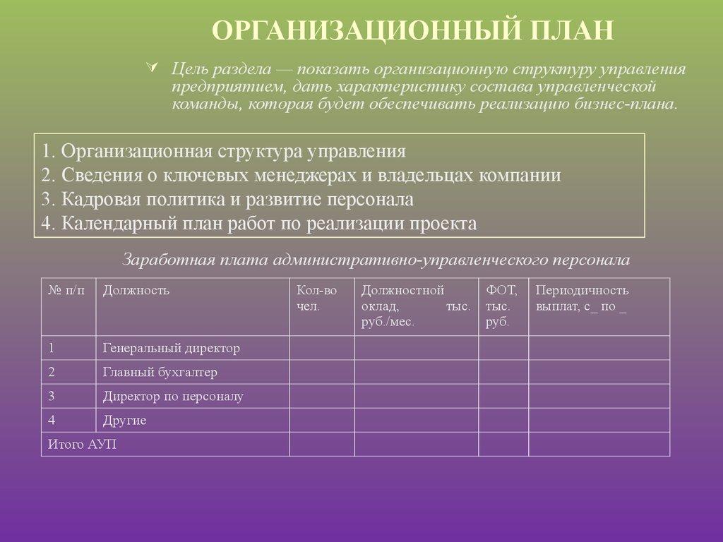 Раздел  Организационный план в бизнесплане