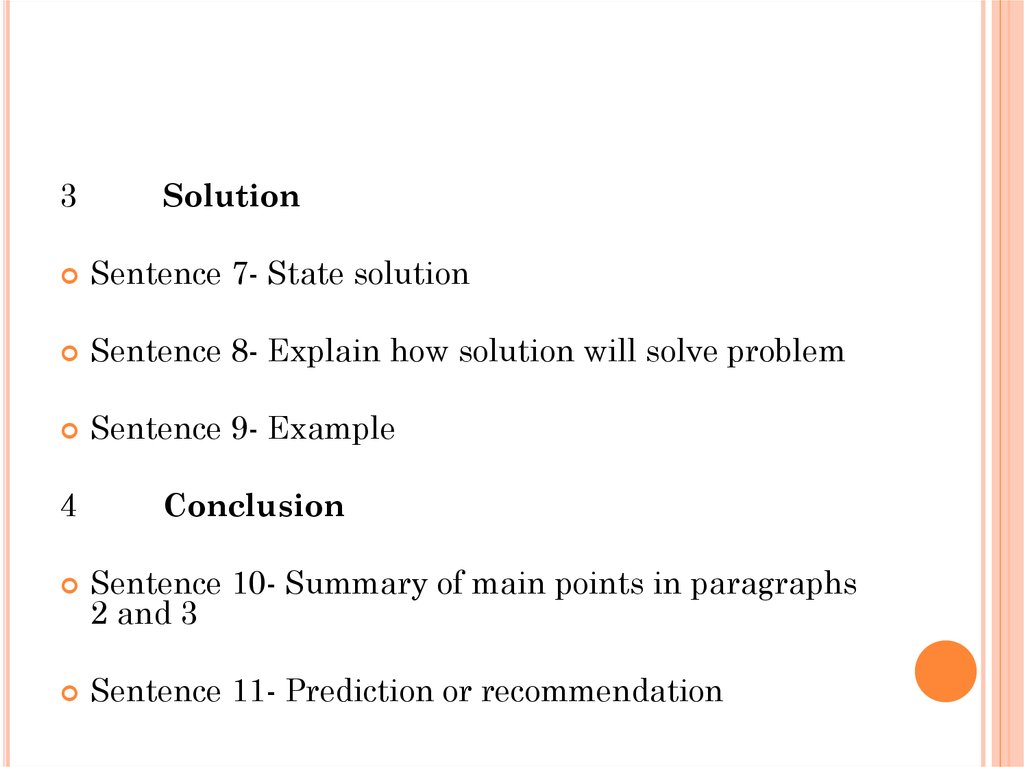 problem solving essay  sentence 8 explain how solution will solve problem sentence 9 example 4 conclusion sentence 10 summary of main points in paragraphs