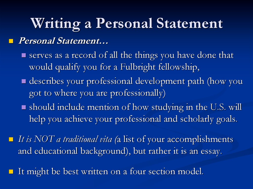 writing the best personal statement