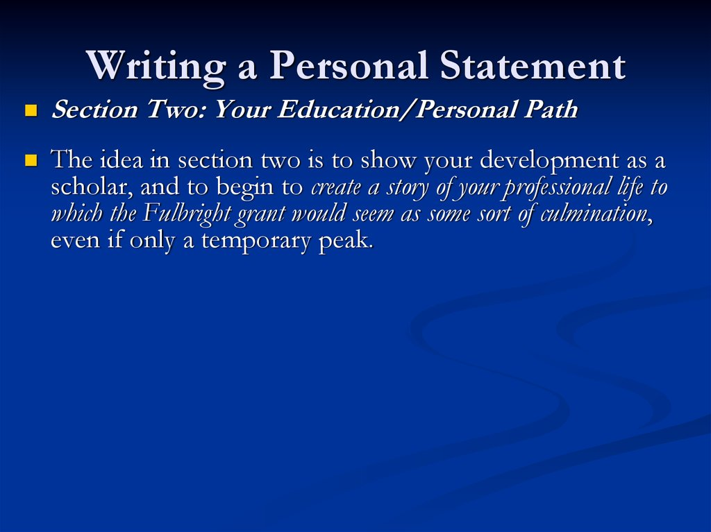 Writing a Personal Statement for Fulbright Applications