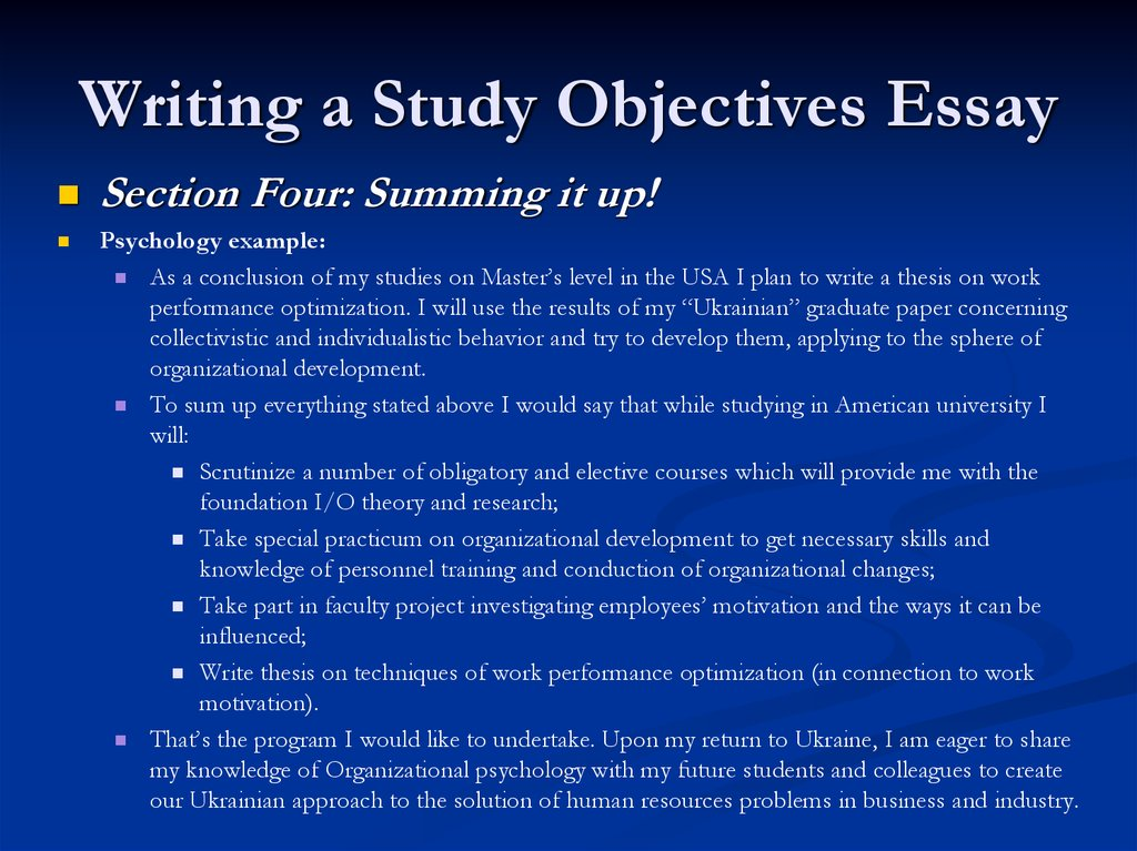 STUDY/RESEARCH OBJECTIVES - Admission/Application Essay Example
