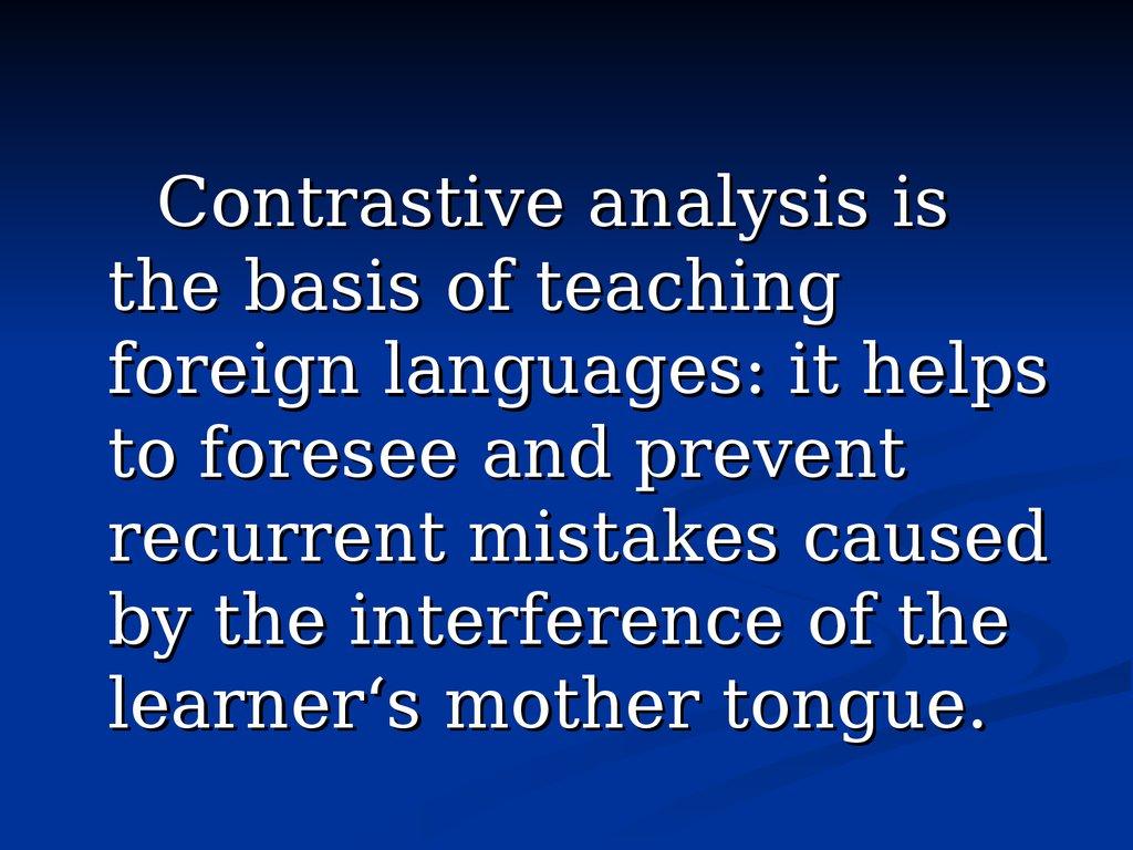 contrastive analysis vs errors analysis