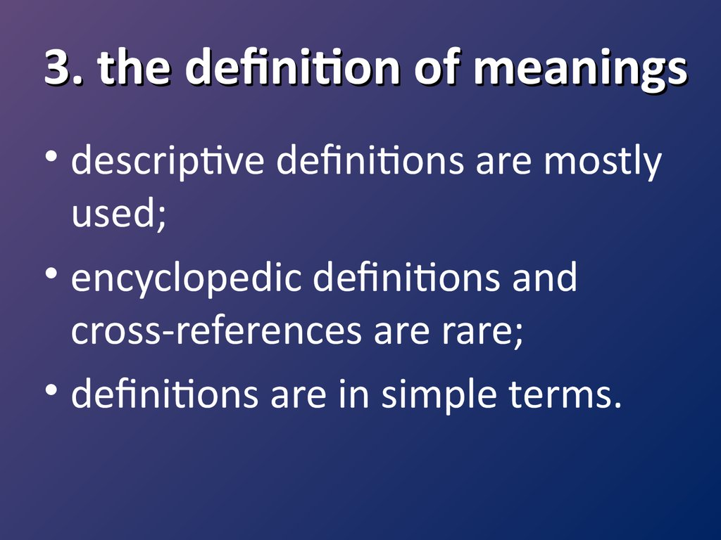 3. the definition of meanings