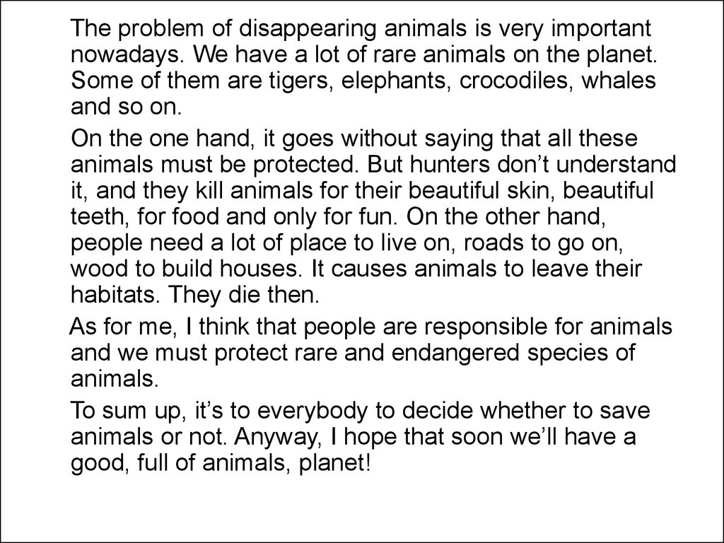 Extinction of animals essay