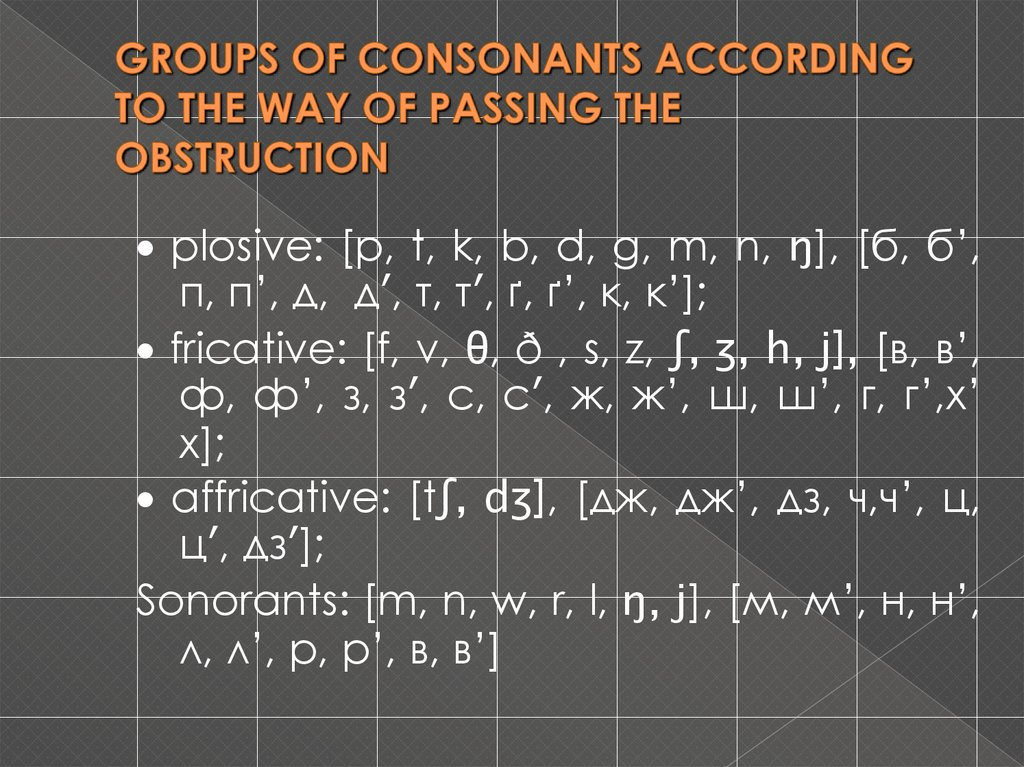GROUPS OF CONSONANTS ACCORDING TO THE WAY OF PASSING THE OBSTRUCTION
