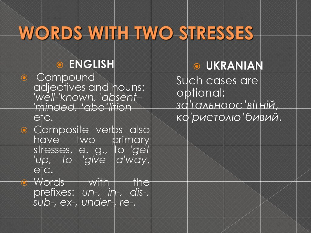 WORDS WITH TWO STRESSES
