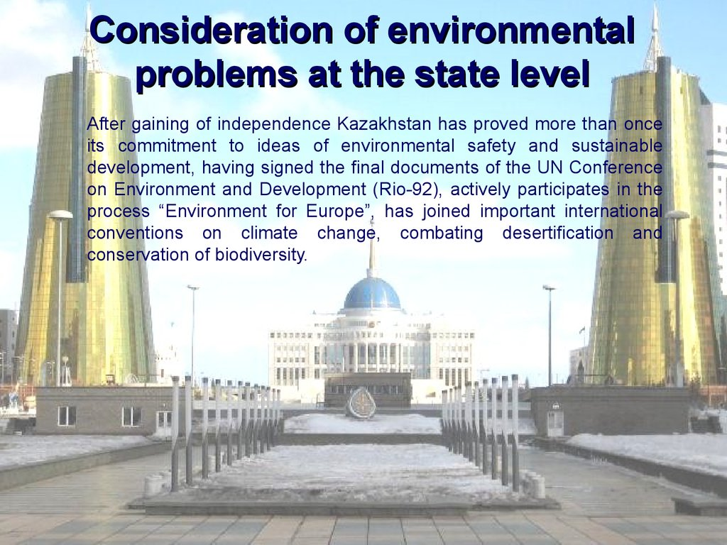 Consideration of environmental problems at the state level