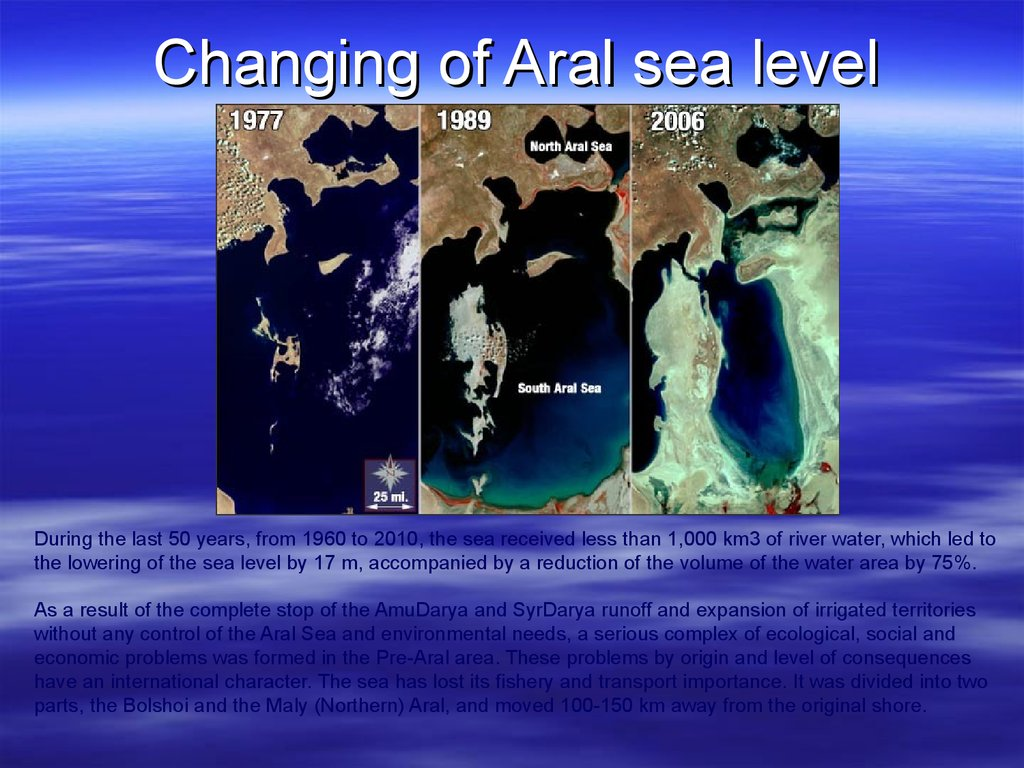 Changing of Aral sea level