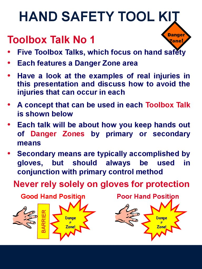 Hand Safety. Tool Kit