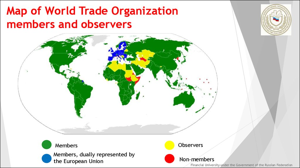 Map of World Trade Organization members and observers