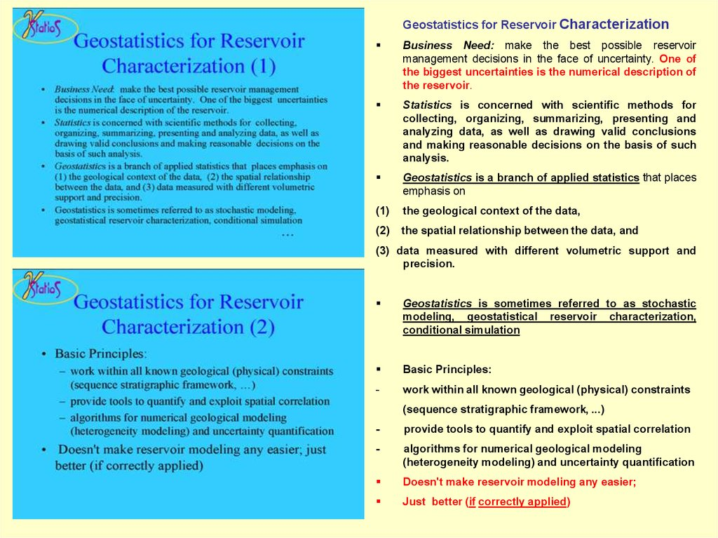 geostatistics and advance reservoir modelling essay Reservoir modeling groups have to make geostatistics is generally applied to obtaining more incorporating geostatistical methods with monte carlo.