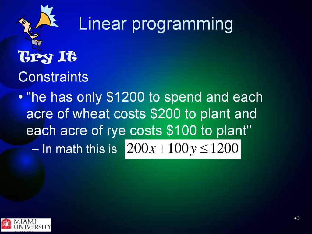 linear progra mming Linear programming basics a short explanation is given what linear programming is and some basic knowledge you need to know a linear programming problem is mathematically formulated as follows.