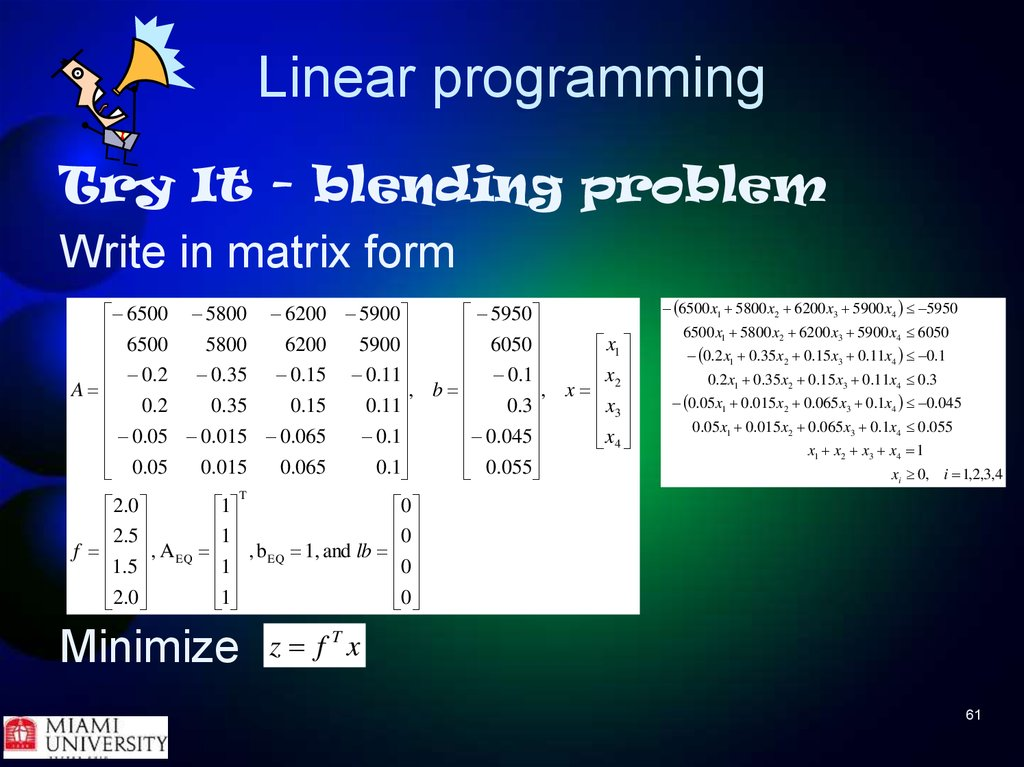 parametric linear programming Parametric linear programming (plp) problem f (x,p) = ct (p)x(p), where ci (p) are  nonlinear functions of p, and constraint given as a linear interval parametric.