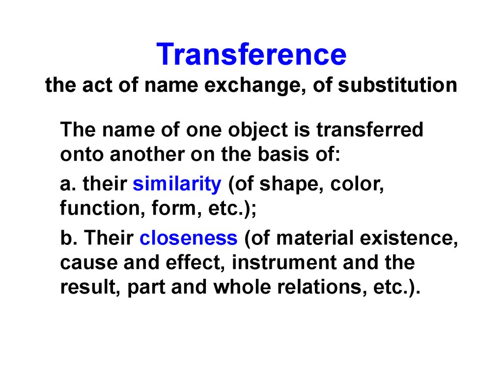 Transference the act of name exchange, of substitution