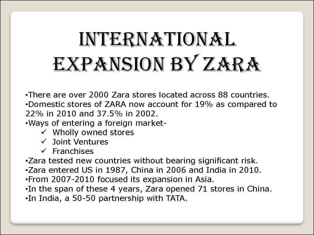 the case of zara a supposed Case study zara is the flagship brand of the spanish retail group, inditex sa, second and third day it starts to look stale, but customers may.