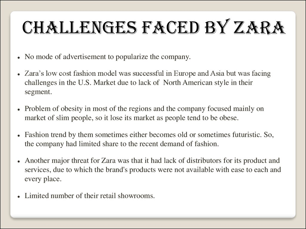 zara s global strategy Zara global strategy 1 submitted by: akriti mahajan (04mbaib14), priya pandita (14mbaib14) samarth gupta (18mbaib14), shantanu s jamwal (19mbaib14) sushain mahajan (22mbaib14) international centre for cross cultural research & human resource management.