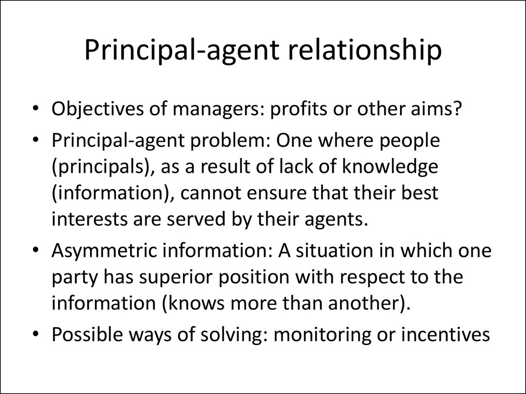 principal agent relationship example