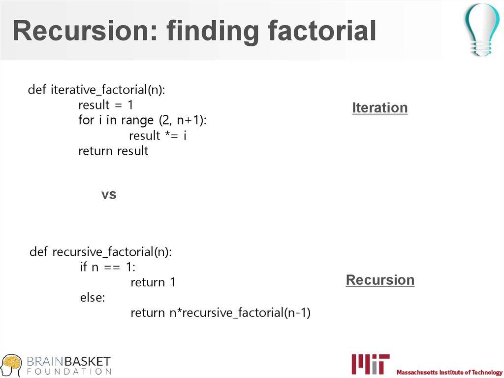 Recursion. Tuples, lists, dictionaries - презентация онлайн