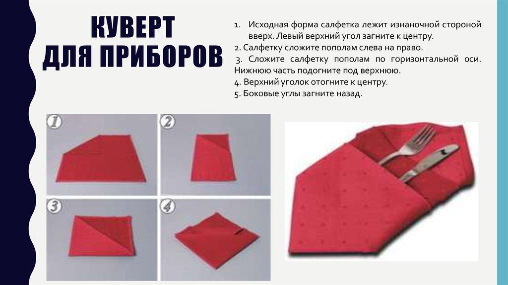Как сделать из салфеток для столовых приборов 755