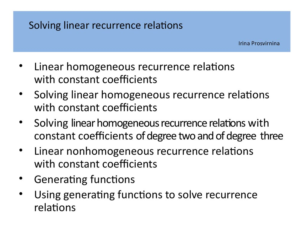 solved problems on recurrence relations