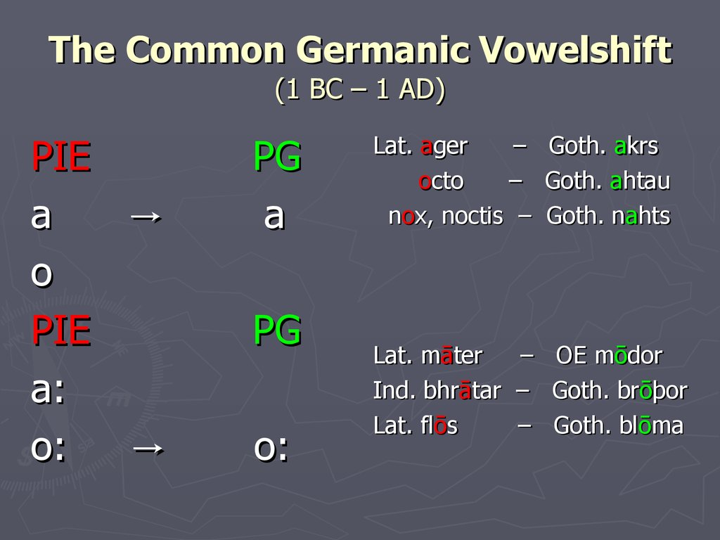 The Common Germanic Vowelshift (1 BC – 1 AD)