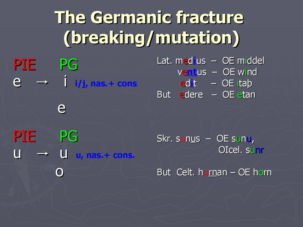 The Germanic fracture (breaking/mutation)